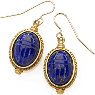 Sale - Egyptian Scarab Engraved Lapis Earrings, from Our Museum Collection