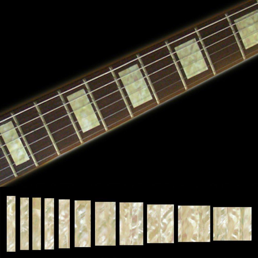 Pegatina con incrustaciones de marcadores de trastes para guitarra y bajo – Bloques LP/SG – Aged White Pearl, F-005BL-AW