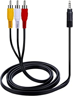 Onvian 3.5mm to 3 RCA Male Plug to RCA Stereo Audio Video Male AUX Cable 5FT Cord