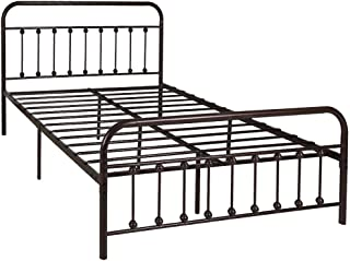 WAYTRIM Vintage Metal Bed Frame Platform with Headboard and Footboard, Heavy Duty Steel Slat Support, Box Spring Replacement, Antique Brown Finish, Queen Size