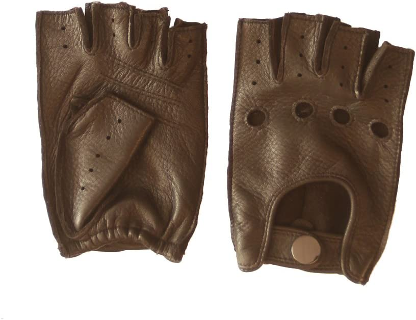 Nappaglo Women's Deerskin Fingerless Gloves Half Finger Leather Driving Motorcycle Cycling Riding Unlined Gloves