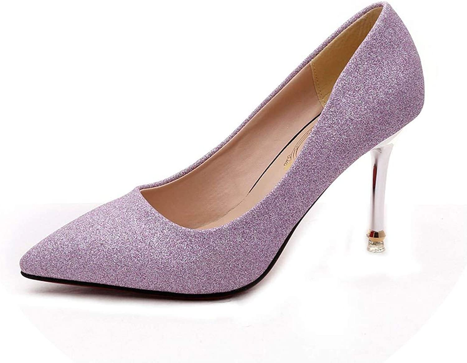 Women shoes Fashion Pointed Toe Pumps Patent Leather High Heels,Purple,4.5
