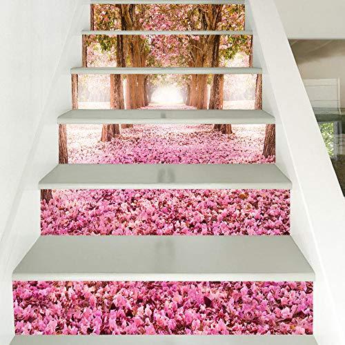 de Vinilo Escalera Pegatinas Calcomanías - Pegatinas de escaleras decoradas con flores de cerezo por todo el suelo-100 * 18 cm * 13 piezas