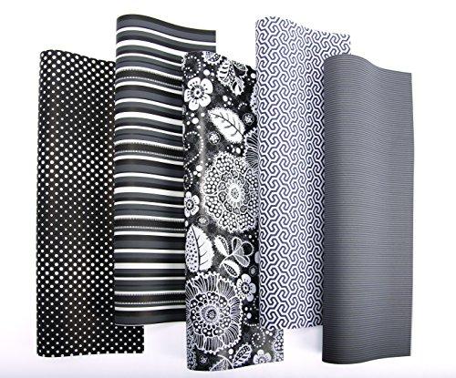 10er Rollen Set Black & White elegantes Geschenkpapier 200 x 70 cm verschiedene Designs