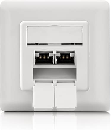 deleyCON 1x CAT 6 Universal Netzwerkdoset - 2X RJ45 Port - Geschirmt - Aufputz oder Unterputz - 1 Gigabit Ethernet Netzwerk - EIA/TIA 568B - Weiß