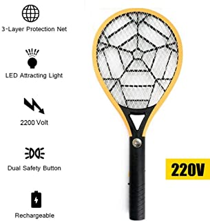 Electric Fly Mosquito Swatter Bug Racket wiht Flash Light 3 Layer Mesh Rechargeable Handheld Anti Insects Zapper Swatter Killer (220V)