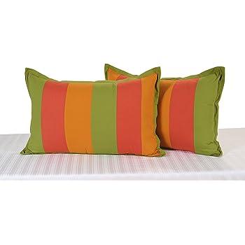 Swayam Drape and Dream Daisy Plain Cotton 2 Piece Pillow Cover Set - Multicolor (DPP-4505)