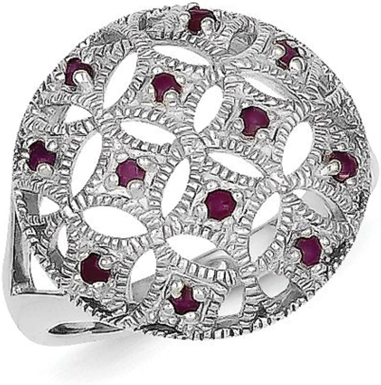 gold and Watches Sterling Silver Ruby Circle Ring