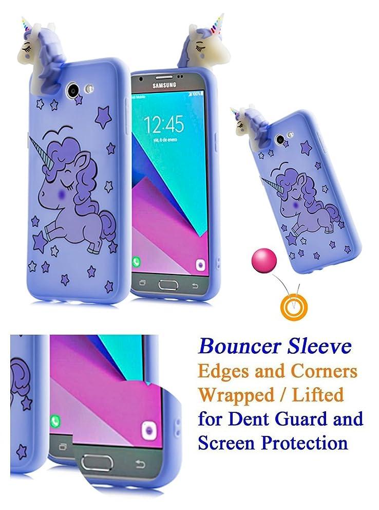 for Samsung Amp Prime 2 Express Prime 2 Case Phone Case 3D Unicorn Grip Wrap Lifted Screen & Camera Shock Bumper Slim Skin Cover (Lavender Unicorn)
