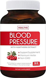 Blood Pressure Support Supplement (Non-GMO) - Premium Natural Herbs, Vitamins & Berries - High Dosage of Hawthorn Extract ...