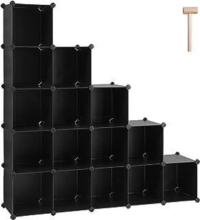 SONGMICS Unidad de Almacenamiento de 16 Cubos, Zapatero, Sistema de Estanterías Bricolaje, Cubos Apilables, Estantería de Plástico PP, Divisor, para Dormitorio, Oficina, Negro LPC44BK