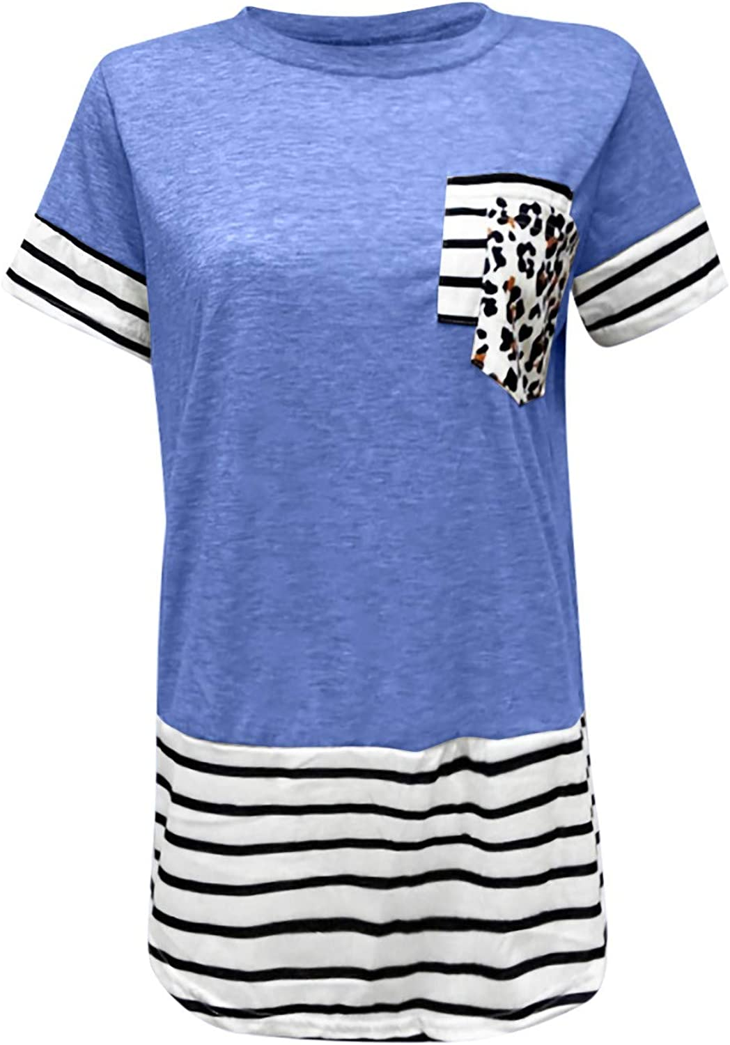 Aukbays T-Shirts for Women Triple Color Block Stripe Short Sleeve with Pocket Tops O Neck Casual Summer Tees Shirt