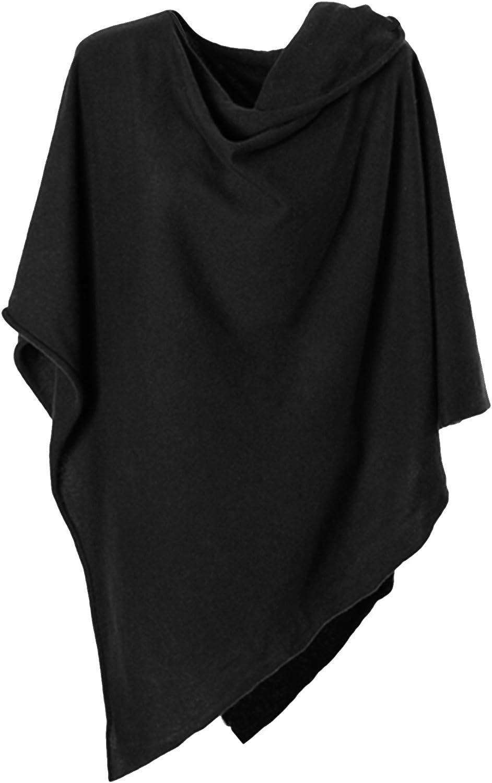 Anna Kristine Pure Cashmere Asymmetrical Draped Poncho  Obsidian Black