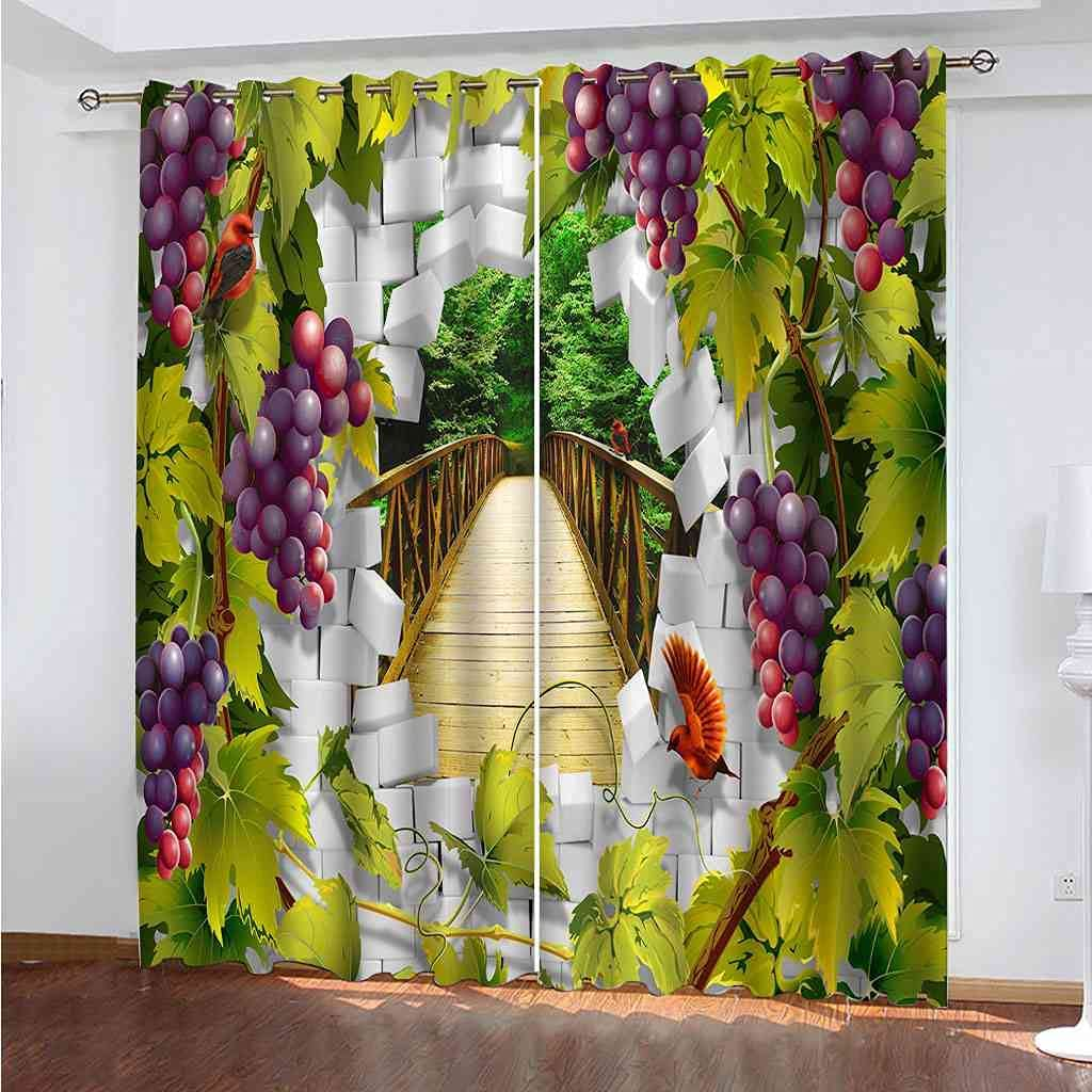 WUBMQ Curtains For Living Room National products Bedroom Decor 2021 new Home 3D Girls Boys