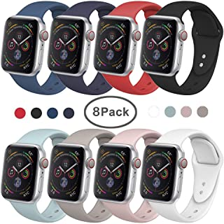 SIRUIBO Band for Apple Watch 38mm 42mm 40mm 44mm, Soft Silicone Sport Strap Replacement Bracelet Wristband for Apple Watch Series 4, Series 3, Series 2, Series 1, Sport, Edition