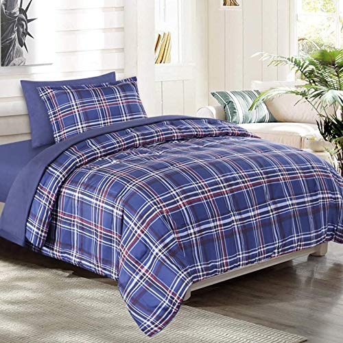 EMME Twin Comforter 5-Piece Bed-in-A-Bag Bedding Comforter Set Luxurious Brushed Microfiber Goose Down Alternative Comforter Soft and Comfortable Machine Washable (Twin/Twin XL, Blue Plaid)