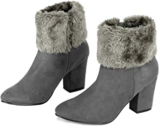 Women's Christmas Faux Fur Chunky Heel Ankle Boots