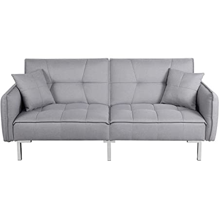 Best Choice Products Living Room Convertible Linen Fabric Tufted Splitback Sleeper Plush Futon Couch Furniture W Pillows Dark Gray Home Kitchen