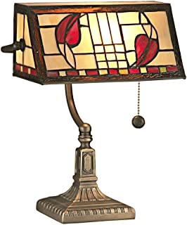 Dale Tiffany TA11010 Henderson Bankers Accent Lamp, Antique Brass