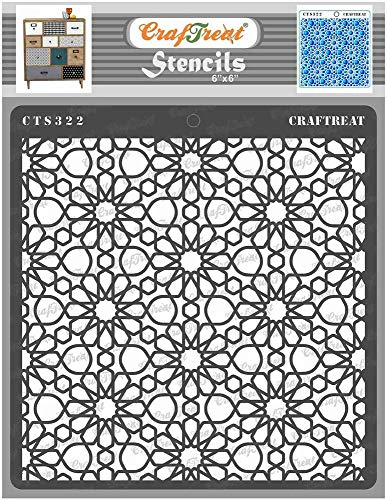 Hinleise Plantillas de patrón para pintar en madera, pared, azulejos, lienzo, papel, tela y suelo, plantilla de patrón árabe, reutilizable para manualidades, patrón para pintura (15,2 x 15,2 cm)