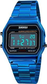 PASOY Men's Digital Gold Stainless Steel Watch Backlit Multifunction Stopwatch Waterproof Sport Watches