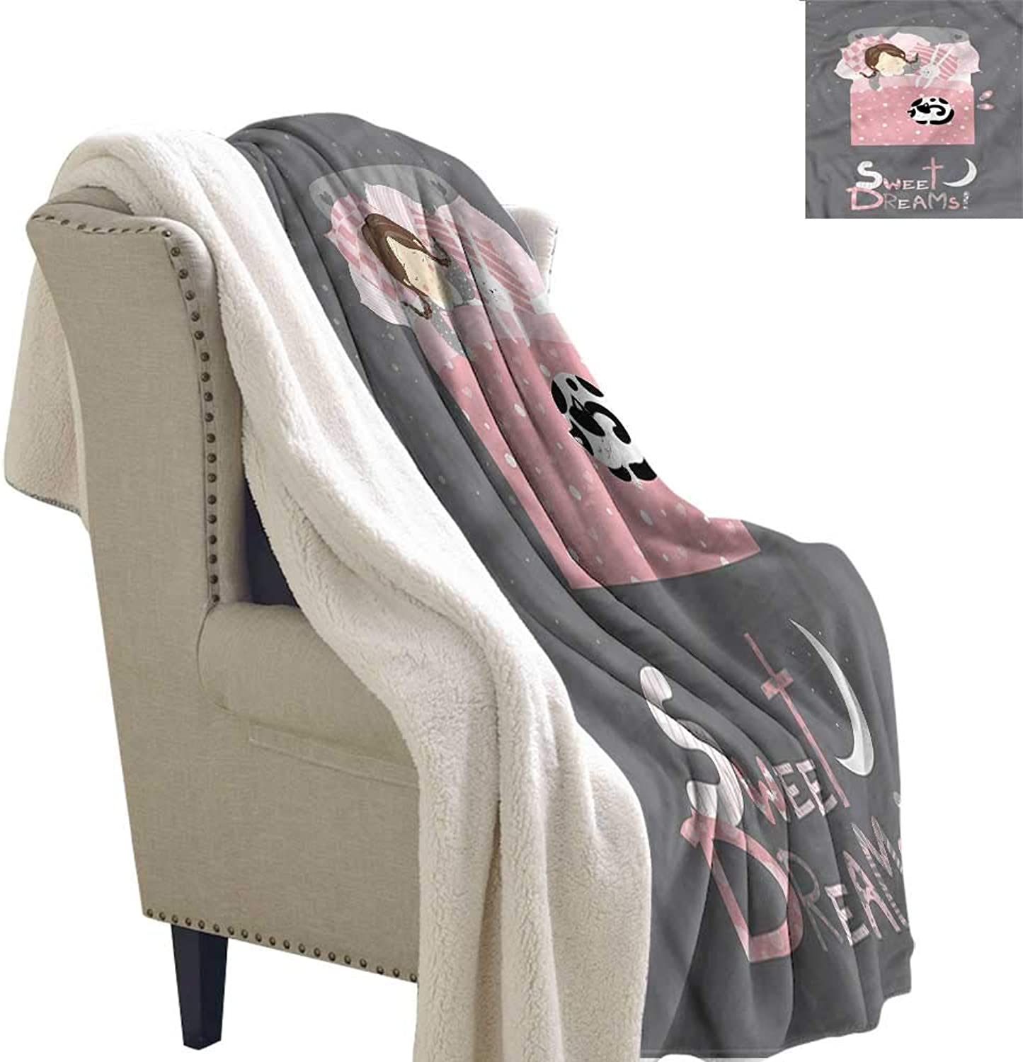 AndyTours Lamb Duvet Sweet Dreams Girl with a Bunny Blanket for Family and Friends W59 x L31