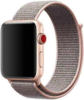 Woven Nylon Sport Loop Strap for Apple Watch 38mm, Pink Sand, HQPro