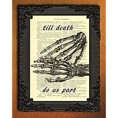 till death do us part wedding poster, human skeleton hands wedding ring wall art, gothic couple rings art print, halloween wedding decor, I love you forever artwork, goth dictionary print decorations