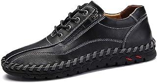 Men Casual Flats Shoes Pu Leather Loafers Light, Soft, Tough, (Color : Black, Size : 49)