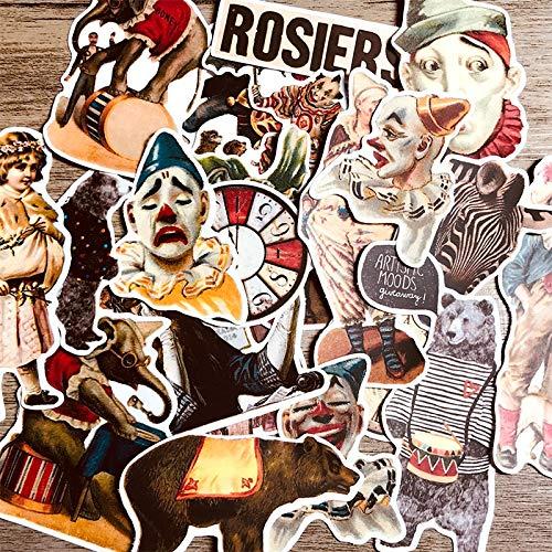 BAIMENG Pegatina de Personaje de Estilo Europeo y Americano, Diario de Cuenta de Mano de Circo, Guitarra, monopatín, Nevera, Maleta, Pegatina, 23 Piezas
