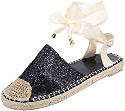 JJLIKER Women Sequins Closed Toe Flat Sandals Cross Strappy Lace Up Loafers Classic Comfort Espadrille Flats Shoes