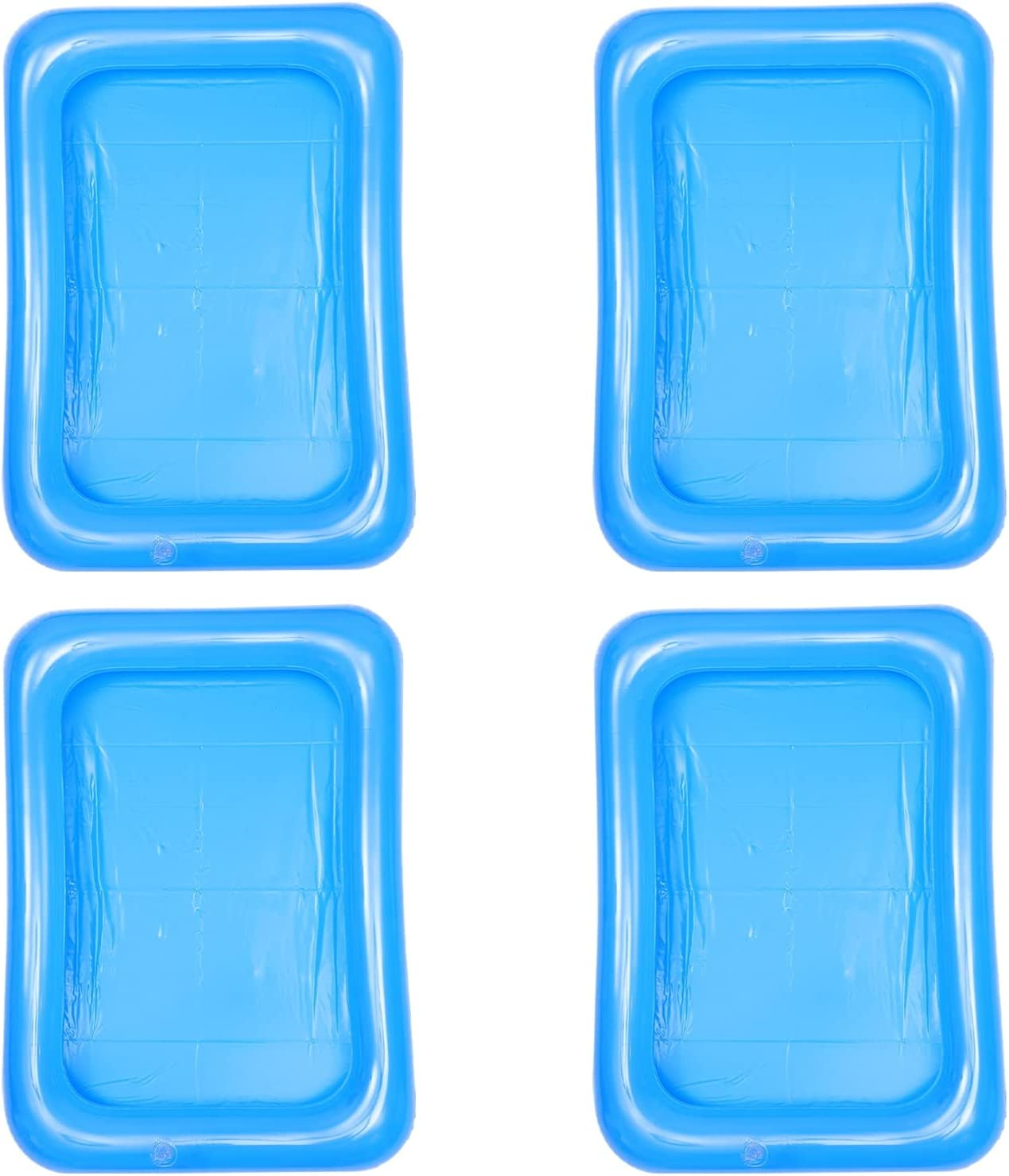 FRCOLOR 4Pcs Inflatable Serving Bar Ice Serving Buffet Salad Cooler Food Containers Summer Drink Cooler Floating Tray for Picnic Pool Party Supplies 60x45cm Transparent