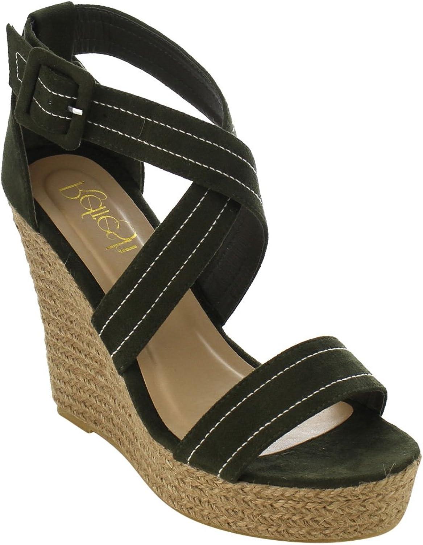 Refresh IE53 Women Stitched Criss Cross Strap Espadrille Platform Wedge Sandals
