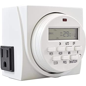 Comforday 7-Day Programmable Digital Timer, Use Indoor and Outdoor with Dual Outlets