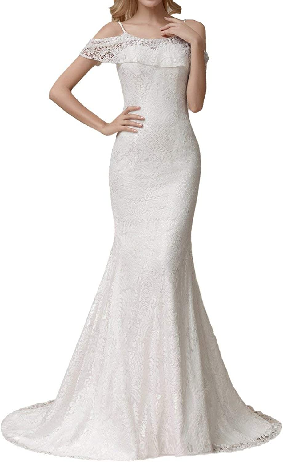 ICCELY Women's Mermaid Spaghetti Straps Lace Sweep Brush Train Wedding Dresses for Bride