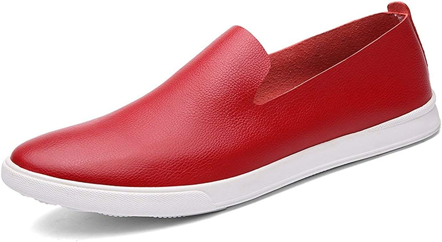 ZHRUI Boy's Men's Rubber Sole Red Spring shoes Dress Loafers UK 8 (color   -, Size   -)