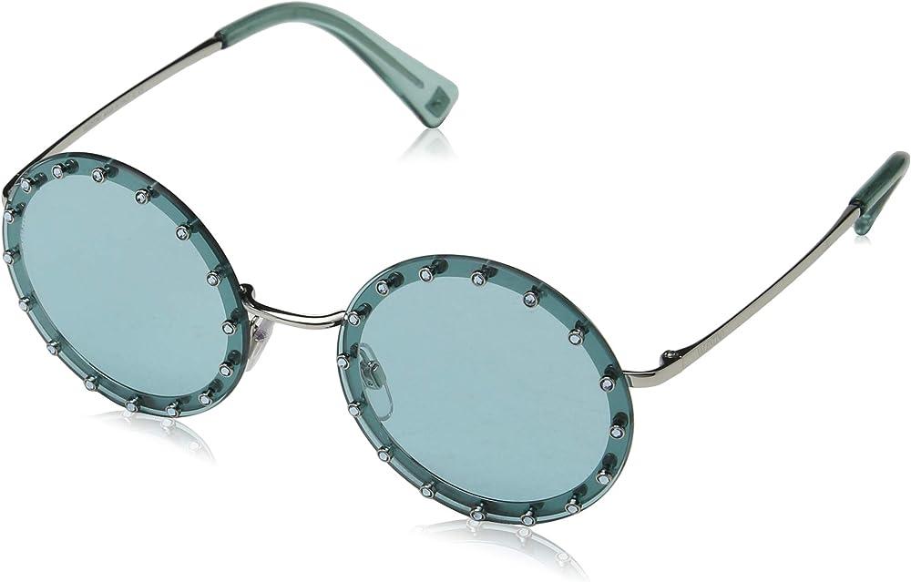 Valentino, occhiali da sole da donna, rotondi, montatura in acetato e metallo, lenti verde acqua VA2010B 300665