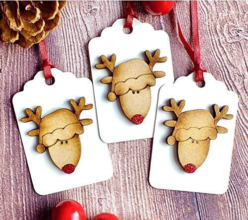 3 x Luxury Wooden Christmas Gift Tags, Rustic Handmade Cute Reindeer Hang Tags Red
