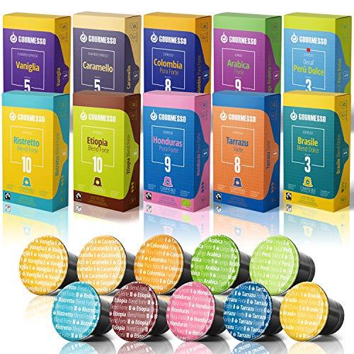 Gourmesso Trial 100 Variety Pack - Espresso Capsules for Nespresso Original Line Machines 100% Fair Trade Coffee Pods - Includes Lungos, Flavors, High-Intensity, and Organic Espresso Pods Sampler