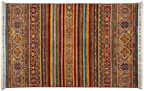 Lifetex.eu Teppich Samarkand ca. 120 x 190 cm Mehrfarbig handgeknüpft Schurwolle Modern hochwertiger Teppich
