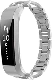 TiMOVO Metal Band Compatible with Fitbit Alta/Alta HR, Unique X-Link Replacement Band Bracelet Strap with Sparkling Inlaid Diamonds for Women, Girls - Silver