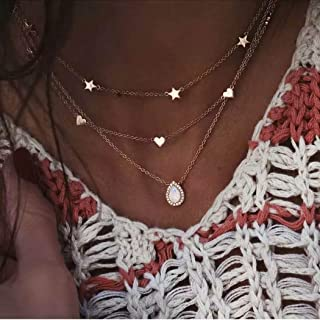 Acedre Boho Star Layered Necklaces Crystal Pendant Choker Necklace Gold Beach Necklace Chain Adjustable Jewelry Dainty Acc...