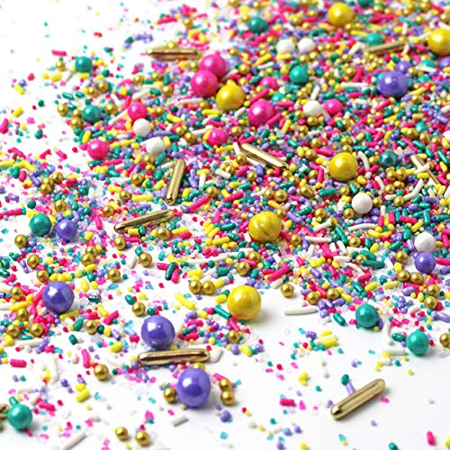 Spring Bling Sprinkle Mix  Pastel   Pink and Purple  Teal   Yellow   Easter Sprinkles, 4OZ