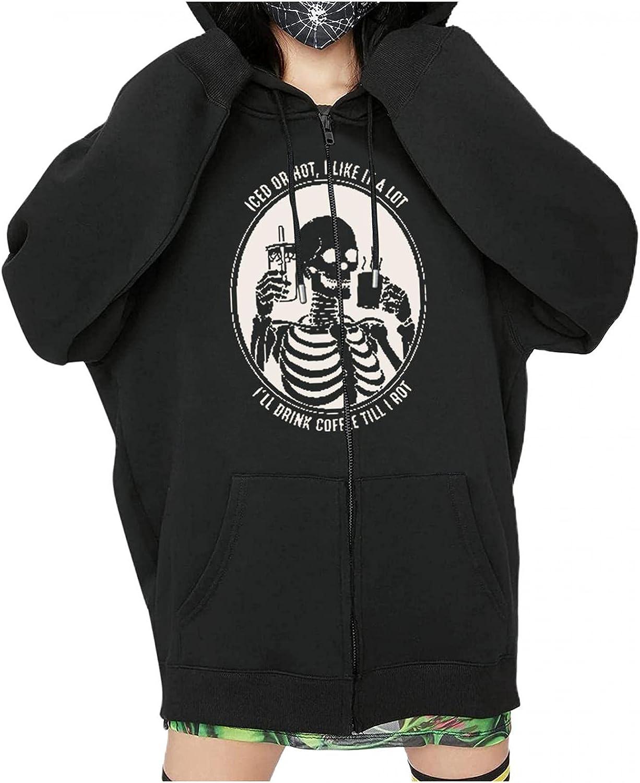 Womens Y2k Skeleton Zip Up Hoodies Rhinestone Graphic Oversized Pullovers Sweatshirt Goth jacket with Pockets