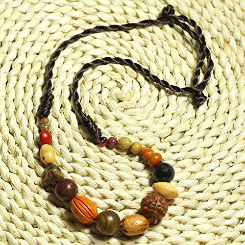 JONJUMP 18 niños budismo étnico pulsera bodhi étnico collar natural 18 bodhi semilla collar