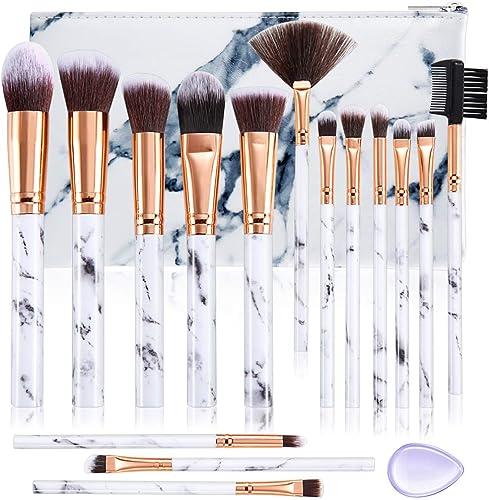Pennelli Make Up DUAIU 15 Pennelli Professionali Sintetici di Alta Qualità per Ombretto Correttore Cipria Crema Liqui...