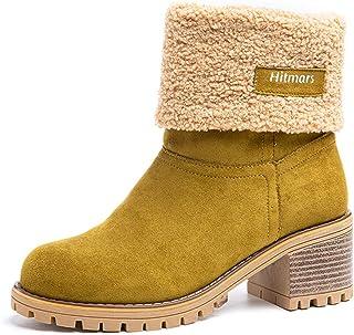 Botas Mujer Invierno Tacon Forrado Calentar Botas Altas Botines Moda Casual Outdoor Zapatos de Nieve Snow Boots 6 cm Negro...
