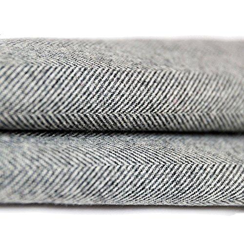 McAlister Textilien Herringbone Boutique Tweed Stoff Baumwolle in Anthrazit Grau ca. 10 x 20 cm Meterware Stoffprobe