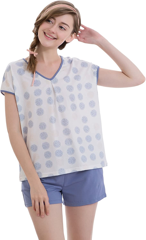 QianXiu Women Dot Printing Pajamas Set Lady Summer Cotton Pajamas with Shorts