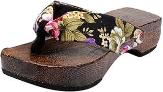 Vintage Flip Flops for Women Ladies Mixed Colors Summer Platform Shoes Wood Sandals Clog Wooden Slippers